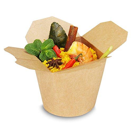 pack2go SmartServ-Boxen - 26oz/750ml - runde Asia/Kebab Faltboxen Pappe braun, 500 Stück
