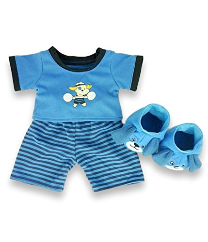Build your Bears Wardrobe Construir su Oso - Conjunto de Pijama y Zapatillas con los Perros Osos de Peluche de 38 cm, Color: Azul