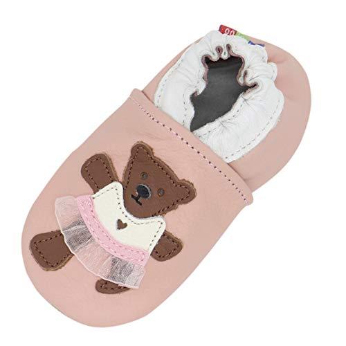 Carozoo Chaussures d'intérieur en cuir pour bébé enfant jusqu'à 8 ans (16 modèles) - Rose - Jupe ourson rose, 3-4 ans