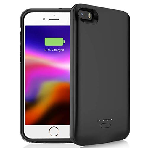 Battery Case for iPhone 5/5S/SE, 4000mAh Portable Rechargeable Battery Pack Charging Case Compatible with iPhone 5/5S/SE (4.0 inch) Extended Battery Charger Case-Black [NOT FIT 5C]