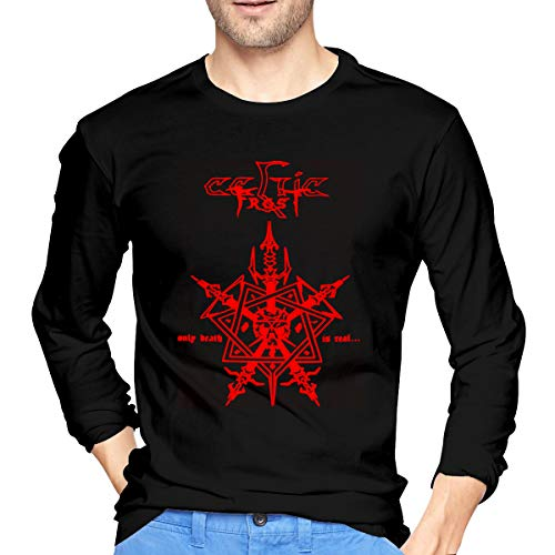 KinHui Mens XXL Black Tshirt Long Sleeves Geek Tee Men Celtic Frost 1984 T Shirts