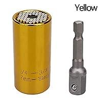 LILICEN スリーブスパナグリップユニバーサルラチェットソケット多機能7〜19ミリメートルパワードリルアダプタカーハンドツールラチェットレンチの修理キット (Color : YELLOW)