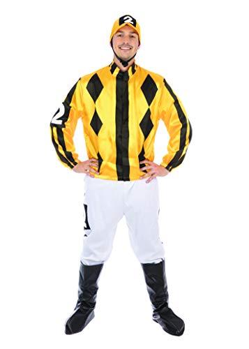 Bristol Novelty- Jockey Disfraz, Color blanco, amarillo, negro, Extra Large Chest 44'-58' (AF128XL)