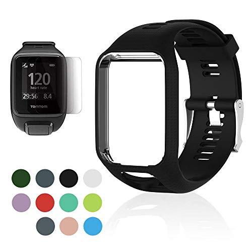 OOOUSE Armband Für Tomtom Runner 2/Runner 3/Spark/Adventurer/Golfer 2, Premium Silikon Ersatz Uhrenarmbänder Anti-Schweiß Straps Sport Armband für Tomtom Smartwatch