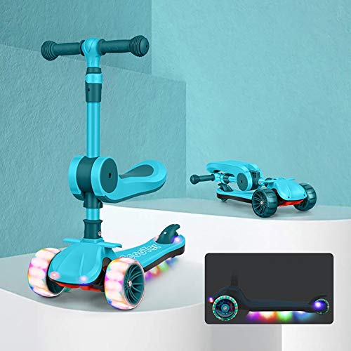 NAINAIWANG Kick Scooter for Kids Toddlers Three Wheels with Extra Wide PU Light-Up Adjustable Height W/Extra-Wide Deck and Back Wheel Brake Kids Toddler for Ages 2-12 Years Old Boys and Girls