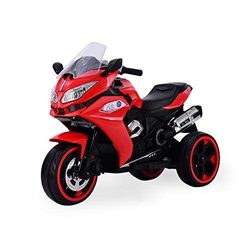 Moni Bicicletta elettrica per Bambini Torino R1200 Fari, luci a LED, Uscita MP3, colorazione:Rosso