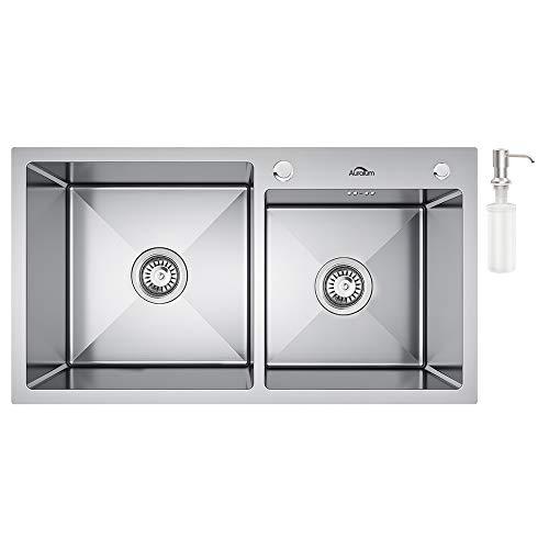 Auralum Lavelli Cucina 78 x 43 cm, Lavello a 2 Vasche in Acciaio Inox con Set di Drenaggio e Dispenser Sapone, 2 Fori di Preforato, Installazione a Sopratop o Filotop