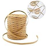 Cinta Rafia Natural para Tejer 200m Cuerda de Papel para la Decoración de Tejido Artesanal de Bricolaje,envolver regalos, Floristería(Marrón)