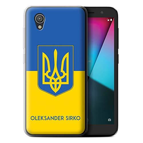 eSwish Personalisiert Individuell National Nation Flagge Gel/TPU Hülle für Vodafone Smart E9 / Ukraine/Ukrainisch Design/Initiale/Name/Text Schutzhülle/Case/Etui