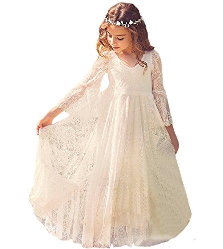 Babyonline Blumenmädchen Kleider Mädchen Kleider Festlich Brautjungfern Party Kleider Hochzeit, Elfenbein, Gr. 120 (6-7 Jahr)