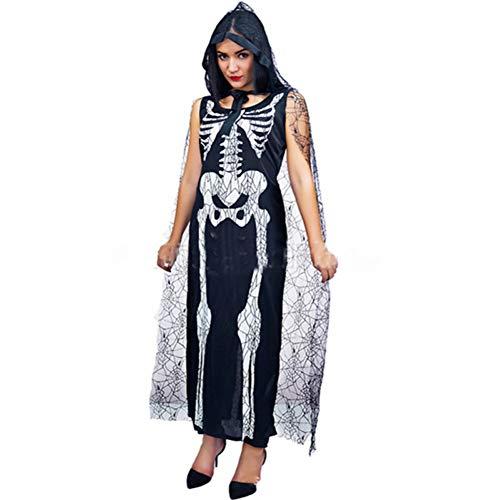 GBYAY Halloween 2019 Horror Fantasma Novia Cosplay Vestido Esqueleto Ropa Maquillaje Fiesta Bola Fantasma Festival Disfraz
