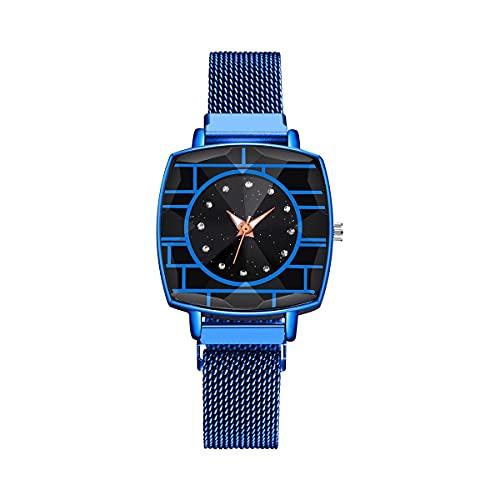 CXJC Moda Rhinestone Señoras Reloj Decorativo. 10-15 años de Edad Deportes Juvenil Reloj a Prueba de Agua. Dial Cuadrado de 40 * 40mm (Color : UN)