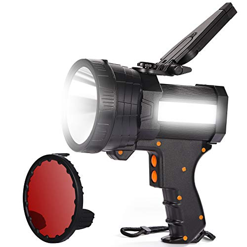 BIGSUN Rechargeable LED Spotlight, High Lumens Flashlight, 10800mAh Power Bank, 6 Light Modes, Perfect Lantern Flashlight for Camping, Hiking, Home,Farm,Hunting and More, Red Lens Included