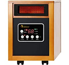Can heat up a large room with Auto Energy Saving Model With High and Low Feature. Tip-over protection and Overheat protection Dual Heating Systems featuring infrared quartz tube + PTC with 12hr automatic shut-off timer IR Remote Control, High Pressur...