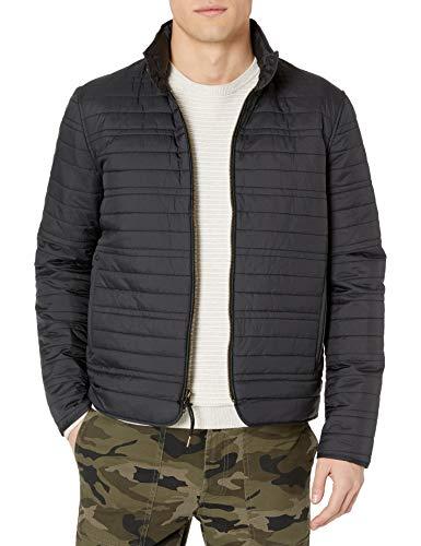 Billy Reid Men s Full Zip Quilted Water Resistant Down Members Shirt Jacket, Black, X-Large