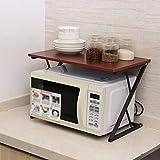 KQP Forno A Microonde Rack2 Layers Kitchen Shelf Microwave Oven Rack Wooden Condiment Storage Stand Desktop OrganizerPortaoggetti Multifunzionale Da Cucina (Size:54x34x36cm; Color:Dark Brown)
