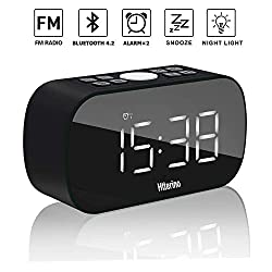 Wireless Bluetooth Speakers Portable Alarm Clock with FM Radio Night Light 5 LED Stylish Mirror Digital Display Sleep Timer with Snooze Function Compatible with iPhone, Samsung and More(Black)