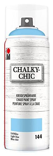 Marabu 02630018144 - Chalky Chic Spray, lichtblau 400 ml, deckende, matte Kreidesprühfarbe auf Wasserbasis, für samtweiche Oberfläche auf Holz, Metall und Kunststoff, Used Look durch Anschleifen