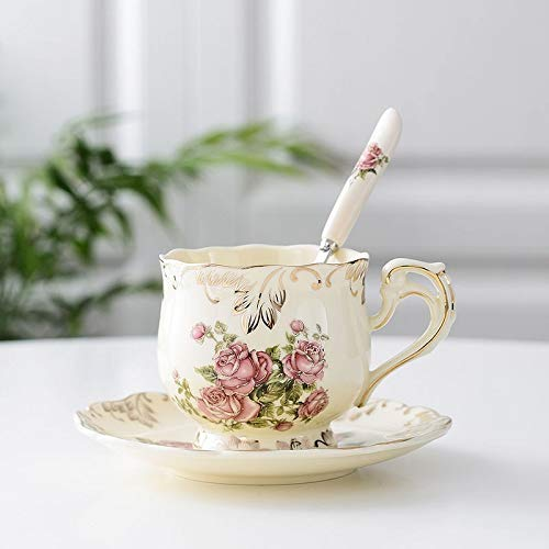 XKMY 1 taza de café de cerámica pintada a mano con cuchara de plato vintage taza café bar suministros personalidad desayuno colorido taza de leche (color: 2)