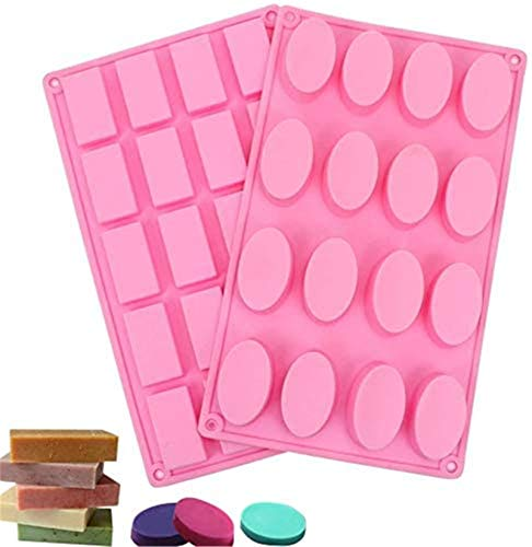 Tomnk Silicone Mold for Handmade soap Jelly Pudding Cake Baking Tools with Sealed Bags 20 Cavity Rectangle 16 Cavity Oval