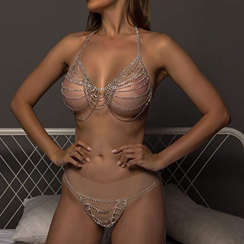 HQLCX Cadena de Cuerpo Conjunto de Bikini Joyas para Mujeres Sexy Cristal Lencería Rhinestone Sujetador y Bragas Tassel Cadena Ropa Interior