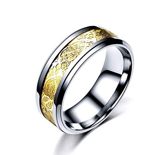 DJDLNK Vintage mannenring rood zilver zwart goud draak roestvrij staal ring vinger sieraden voor mannen huwelijksfeest stalen ring