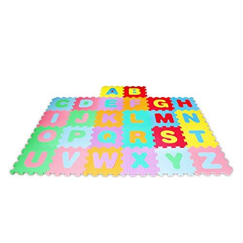 Lalaloom LEARNMAT - Alfombra infantil con letras para juego (alfombra puzzle para bebe con suelo de espuma EVA para habitación), 180x120x1 cm, Multicolor