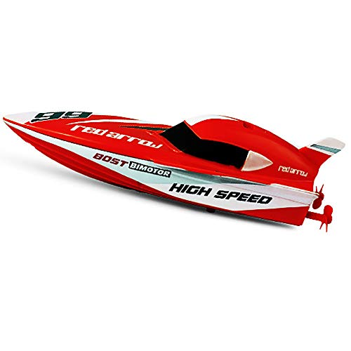 Link Co Mini-Fernbedienung Schnellboot Hochgeschwindigkeits-Rennboot Nautisches Modell Selbstaufrichtendes ferngesteuertes Boot,Red