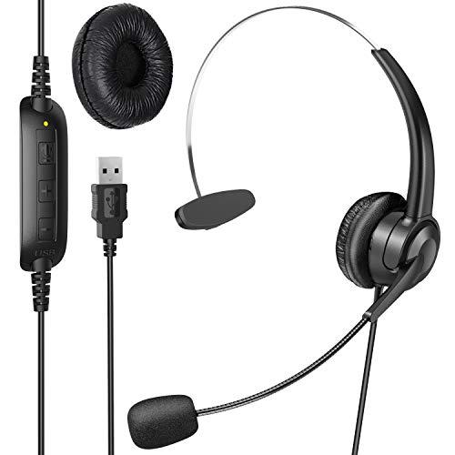 ヘッドセット 片耳 USB接続 ヘッドホン マイク付き 330度回転でき 有線 高音質 軽量 通話 ミュートコントロール付き 伸縮可能 ボリューム調整可能 オーバーヘッド PC用 Web skype 会議通話 ゲーミング PS4 Switch対応