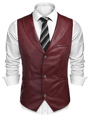 COOFANDY Men's Leather Vest Casual Western Vest Jacket Slim Fit V Neck Suit Vest Waistcoat Wine Red