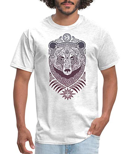 Spreadshirt Forest Lord Bear Celtic Knotwork Men's T-Shirt, L, Light Heather Gray