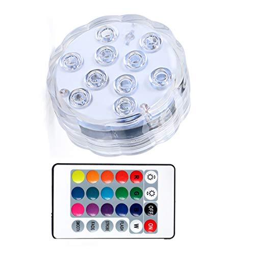 Luces LED Subacuáticas con Control Remoto 16 Colores Impermeable a Batería de La Bañera para Piscina Estanque Bañera Fiesta