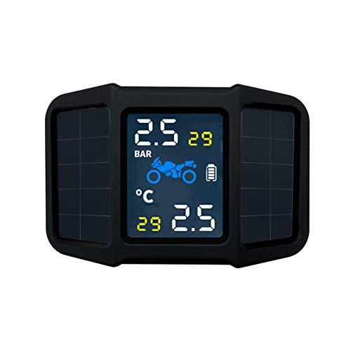 Monitoreo Sistema Presión Neumáticos Moto, TPMS Moto Energía solar con 2 Sensores Externos Pantalla de Temperatura de Presión en Tiempo Real