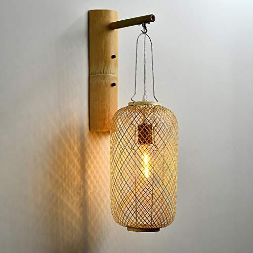Pointhx Aplique de pared de bambú con diseño de arte, E27, lámpara de pared, pantalla tejida de ratán, luz de porche, accesorio de pared para interiores y exteriores, para puerta, jardín, pasillo, pat