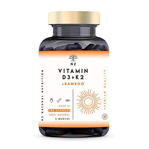 Vitamina D3 K2 DOSIS ALTA - Vitamina D3 5000iu + Vitamina K2 MK7 200 μg + Silicio - Vitaminas Hombre Mujer. Contribuye al Sistema Inmunológico Huesos y Dientes -150 Cápsulas N2 Natural Nutrition