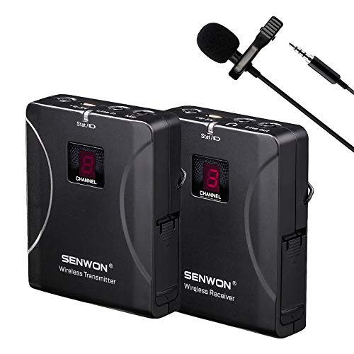 SENWON Wireless Microphone 8-Channels Wireless Lavalier Microphone System with Beltpack Transmitter/Receiver, Clip on Lavalier Mic - Ideal for Teaching, Public Speaking and Conference