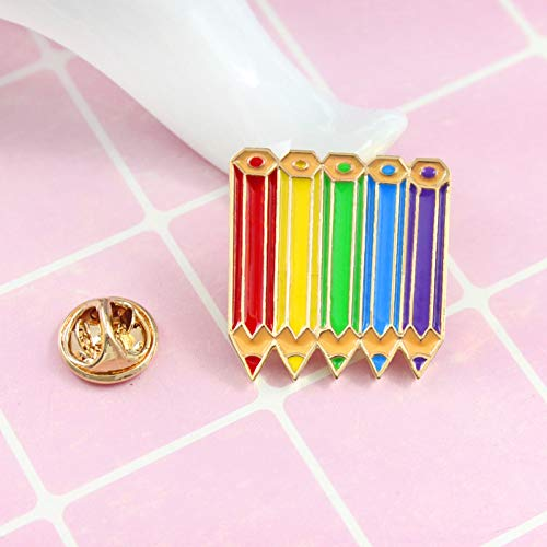 JTXZD Broche Colorful Pencil Art Regenboog nagellak potlood jeans overhemd rugzak badge kunstenaar Best Friends Kids PRNT