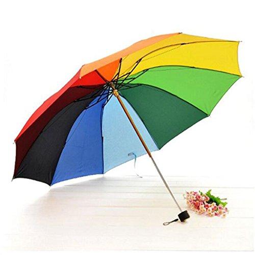 GTWP GTWP GT Regenschirm Manual Mode 3 Folding Umbrella Rainbow Sonnenschirm Sonnenschirm kreative Stockschirm Robuste Winddicht Anti-UV-Sonnenschutz Dach