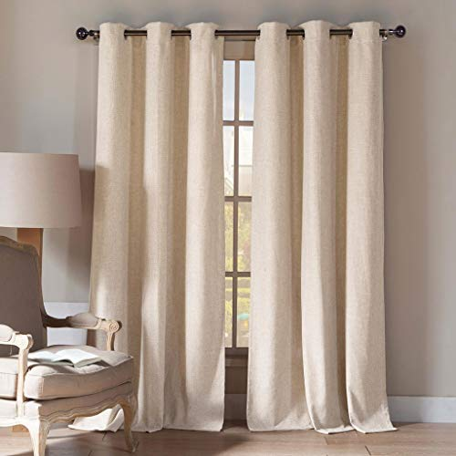 Home Maison - Keighley Natural Linen Blend Textured Grommet Top Window Curtains for Living Room & Bedroom - Assorted Colors - Set of 2 Panels (54 X 112 Inch - Linen)