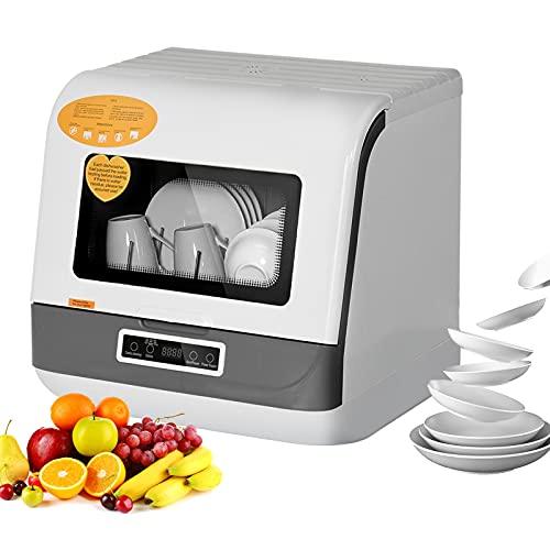 Lavavajillas portátiles con 5 programas de lavado con cuidado del bebé, lavado de frutas y verduras, función de secado al aire para RV, 3D-Cyclone Spray Limpieza (blanco)