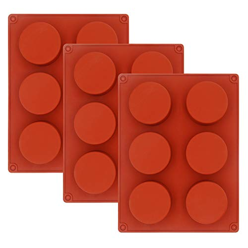 3 Pack Silicone Muffin Pan Cupcakes Baking Trays Silicone Round Soap Molds 6-Cavity Brownie Cake Pudding Jello Baking Tools, Dishwasher and Microwave Safe, Brown