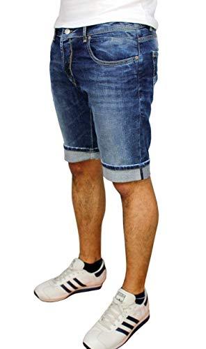 Evoga Jeans Pantaloni Corti Uomo Blu Denim Shorts Estivi in Cotone (50, Blu Denim)