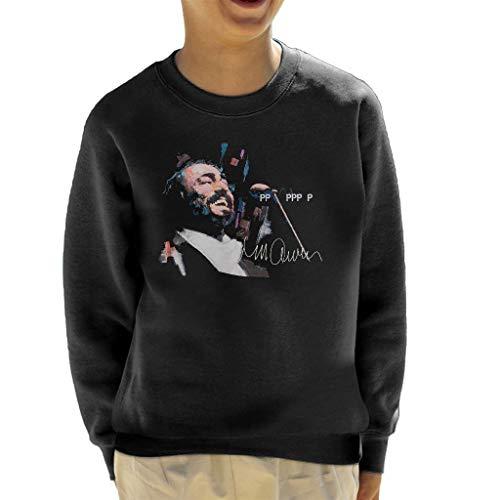 Vintro Kinder Sweatshirt Luciano Pavarotti Original Portrait von Sidney Maurer professionell bedruckt Gr. XS, jet black