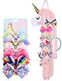 6pc 5' Large Hair Bows & Unicorn Hair Bow Holder Organizer for Girls, Grosgrain Ribbon Hair Bows Alligator Clips for Girls,Unicorn Hair Barrettes Accessories for Toddlers Kids Teens Best Gift