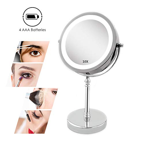 XIGG Miroir de Maquillage Miroir de Table Miroir Cosmétique, 10 Fois Grossissement Double Face avec Bouton Marche/Arrêt, Idéal pour Rasage, Maquillage - Alimenté par Batterie