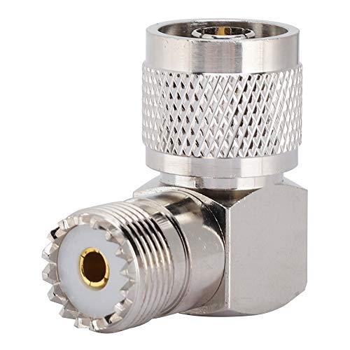 Oreilet Conector Adaptador de ángulo Recto Resistente, Adaptador Hembra M, Duradero para Antenas, Conector UHF para Dispositivos LAN inalámbricos