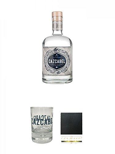 Cazcabel White Tequila 0,7 Liter + Cazcabel Tequila Shot Glas 1 Stück + Schiefer Glasuntersetzer eckig ca. 9,5 cm Durchmesser