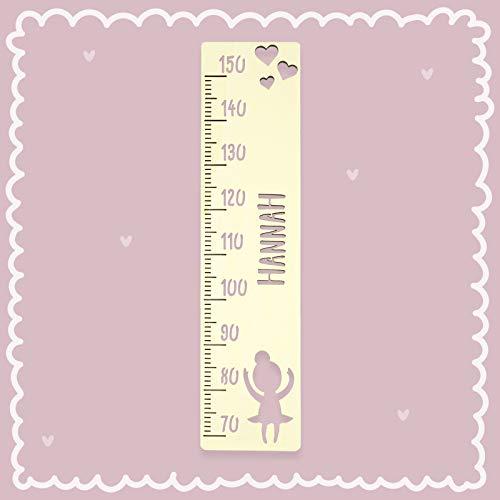 Messlatte Kind Größe Standard Ballerina Kinderzimmer-Messlatte/Tauf-Geschenk oder zur Geburt/Personalisiert mit Wunsch-Name für Mädchen oder Jungen Babyzimmer Design by HeLLo Mini
