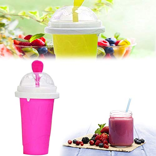 ZXZXC Magic Slushy Maker Squeeze Ice Cup, DIY Homemade Quick Frozen Smoothies Cup, Travel Portable Double Layer Juice Fast Cooling Cup for Children Milk Shake Maker (Pink)