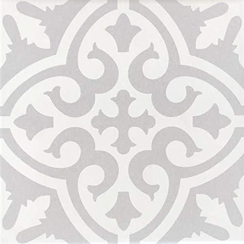 Casa Moro Mediterrane Keramik-Fliesen Daris 20x20 cm 1qm aus glasiertem Feinsteinzeug in Zementoptik | Marokkanische Bodenfliesen & Wandfliesen für Bad Küchenrückwand Küche Flur | FL7032